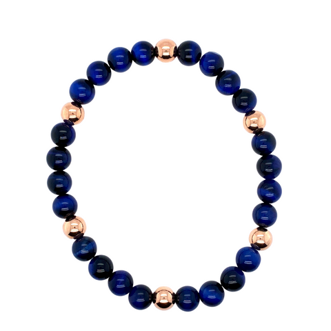 Blue Tigers Eye Beaded Bracelet