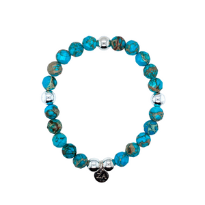 Turquoise Marble Faceted Beaded Bracelet