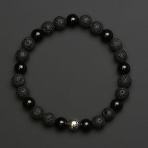 Men's Black Agate & Lava Stone Beaded Bracelet