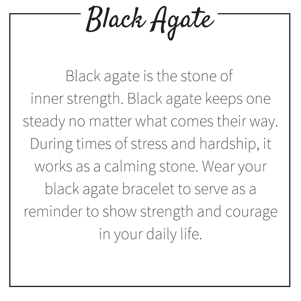 Natural Black Agate Beaded Bracelet