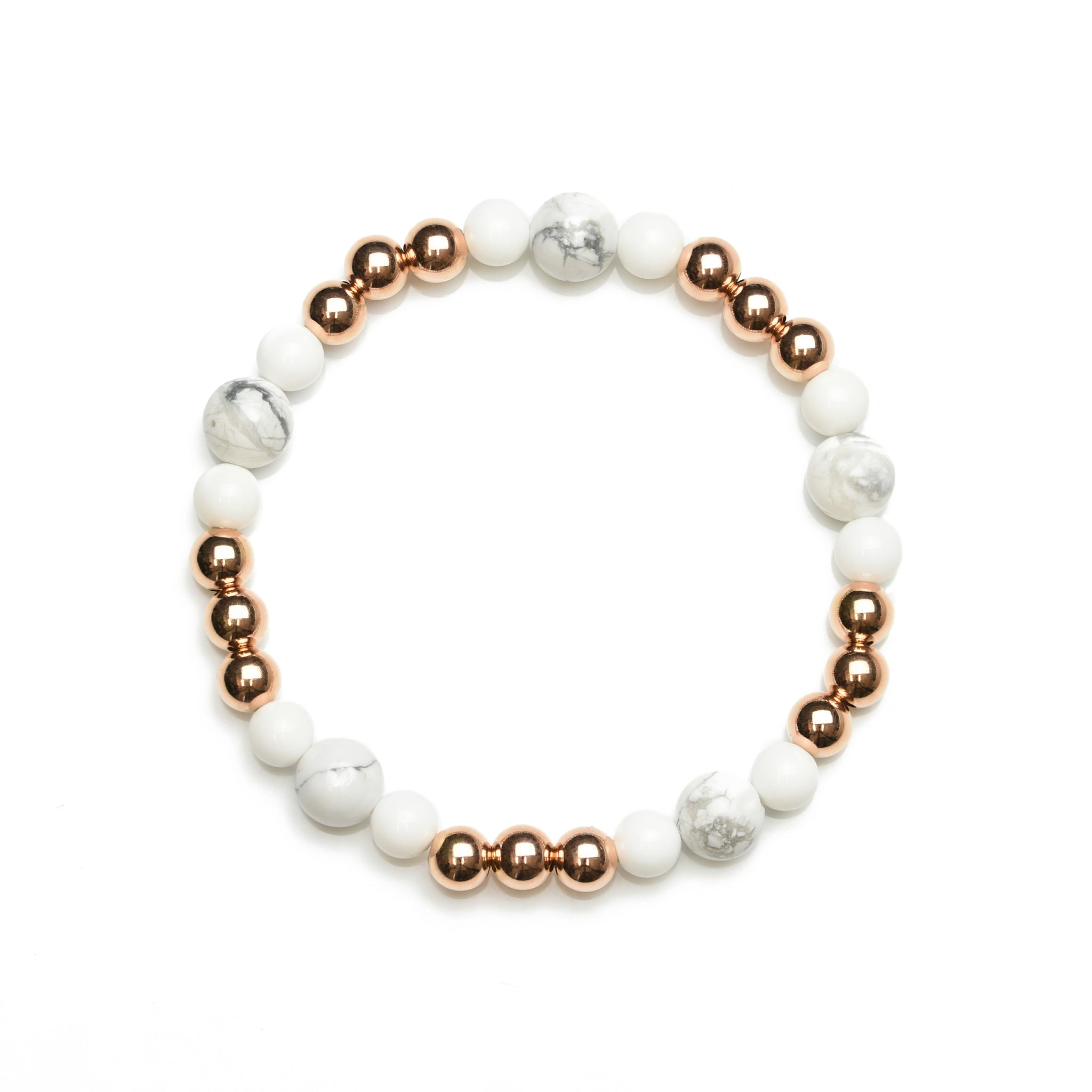 Natural White Agate & Howlite Beaded Bracelet