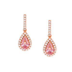 Rose Morganite Teardrop Halo Earrings