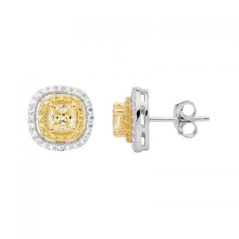 2Tone Yellow/White CZ Double Halo Earrings