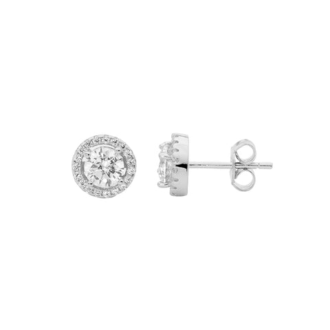 Cz Round Halo Earrings