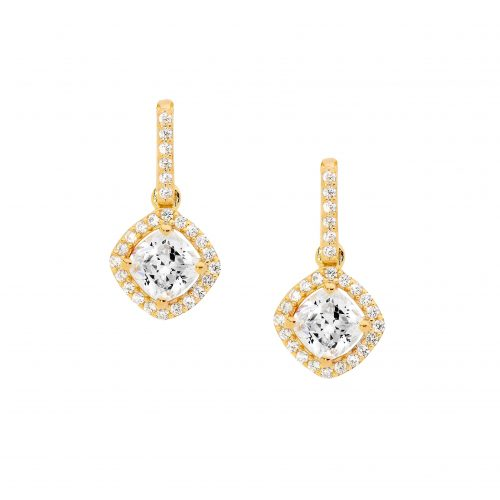 CZ Cushion Cut Halo Drop Earrings