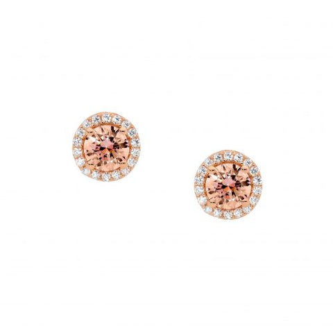 Rose CZ Morganite Halo Studs