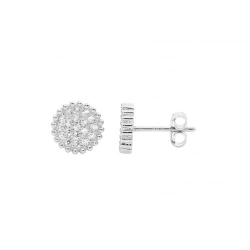 CZ Round Pave Crown Set Earrings
