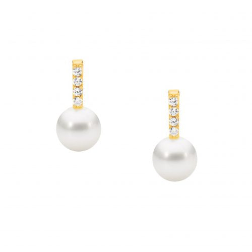 CZ Fresh Water Pearl Earrings