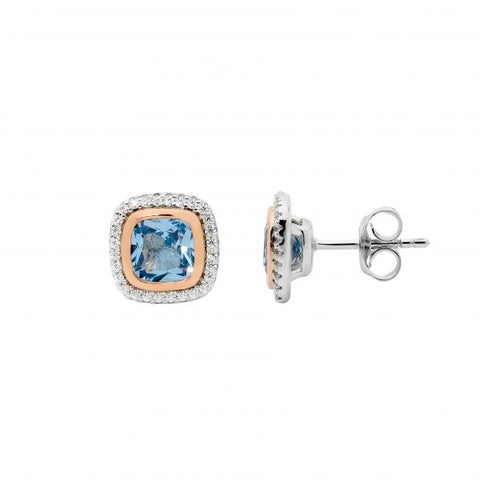 Blue CZ Cushion Cut Earrings