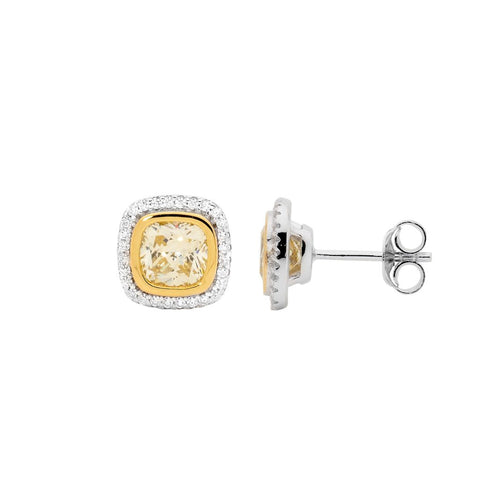 Yellow CZ Cushion Cut Earrings