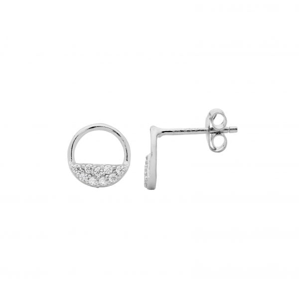 Half Circle CZ Earrings