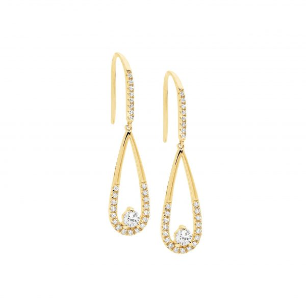 CZ Tear Drop Earrings