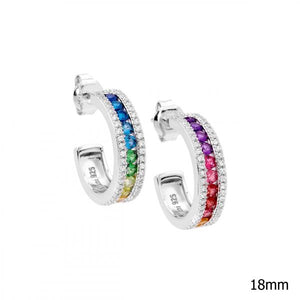 Multi Colour CZ Chanel Hoops