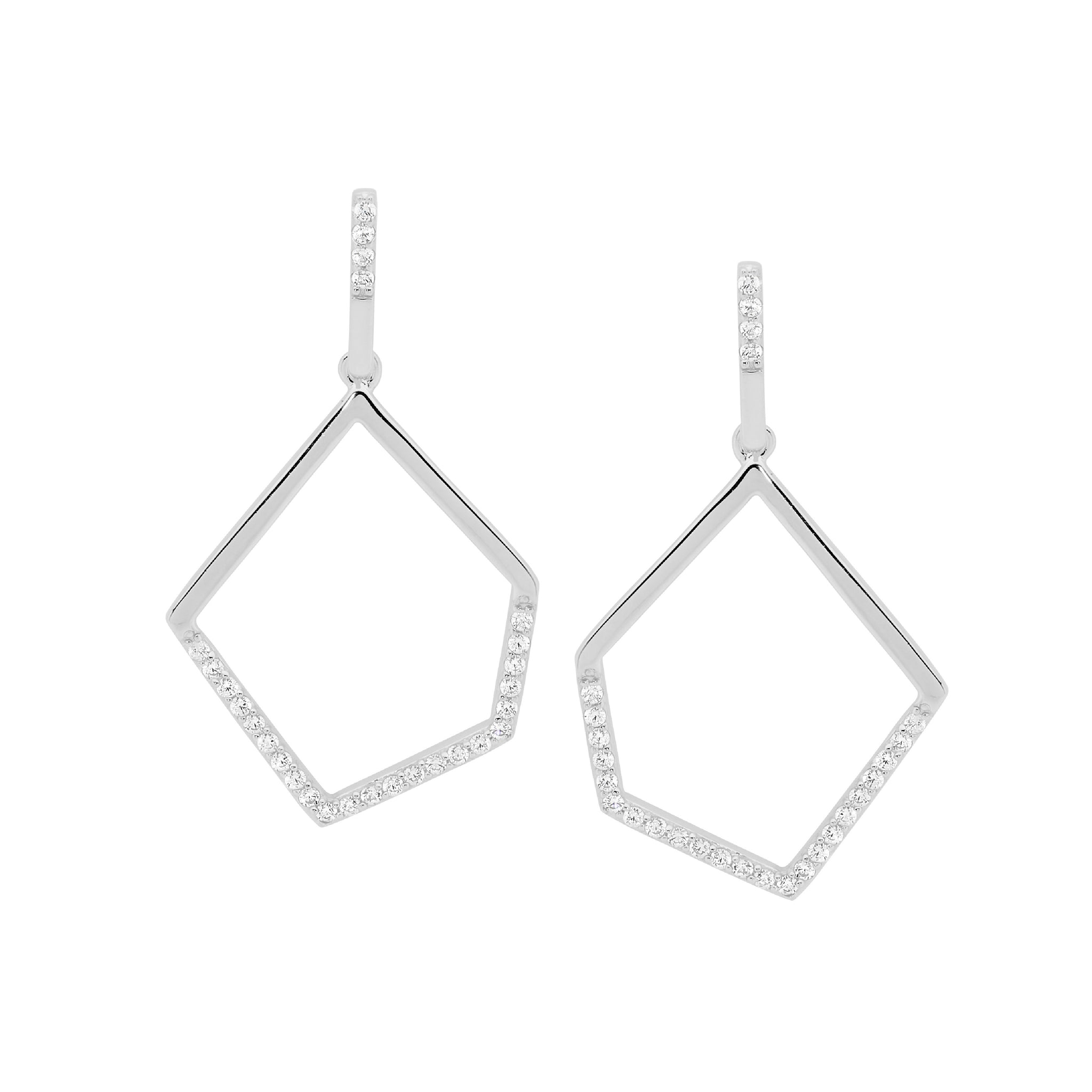 CZ Abstract Drop Earrings