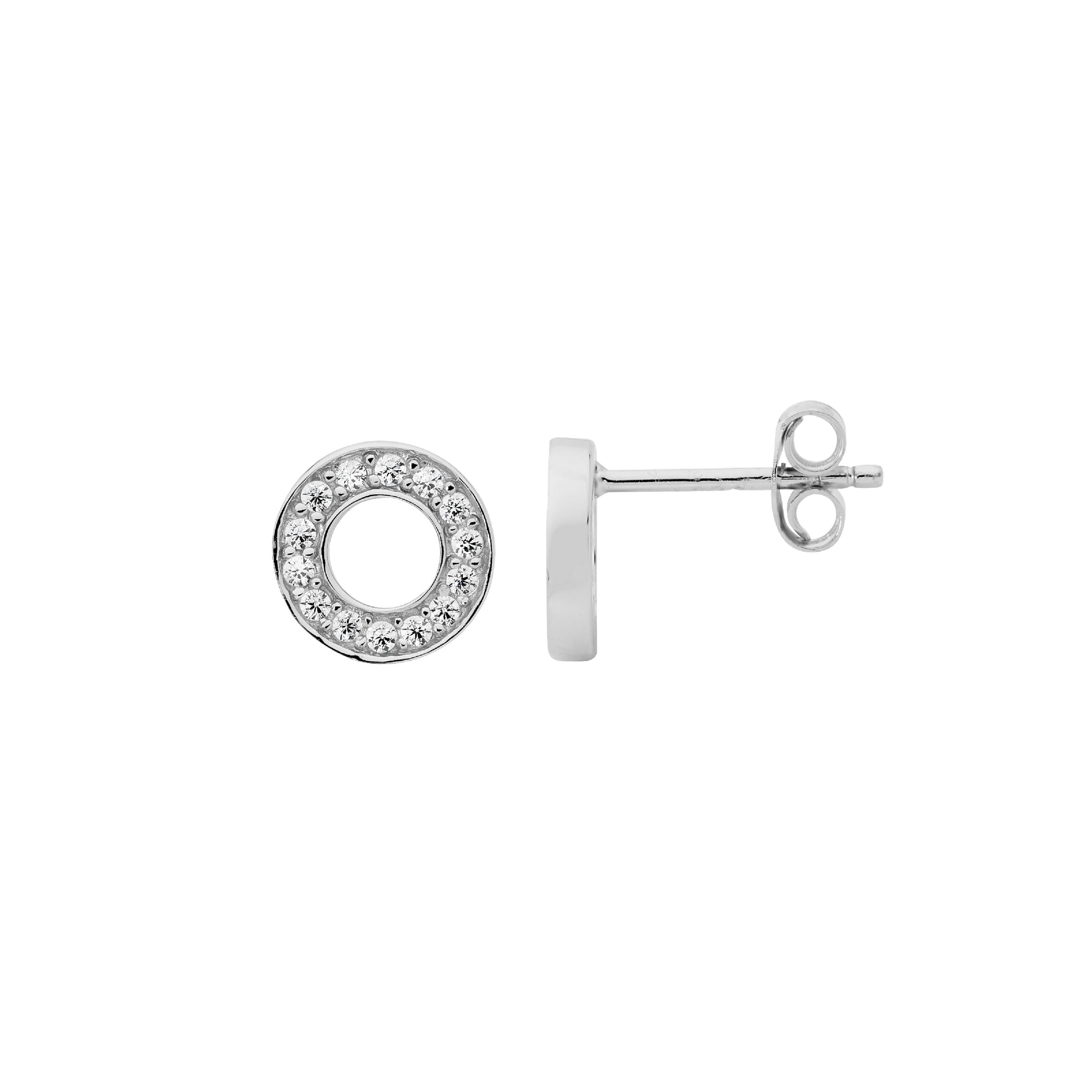 CZ Open Circle Stud Earrings