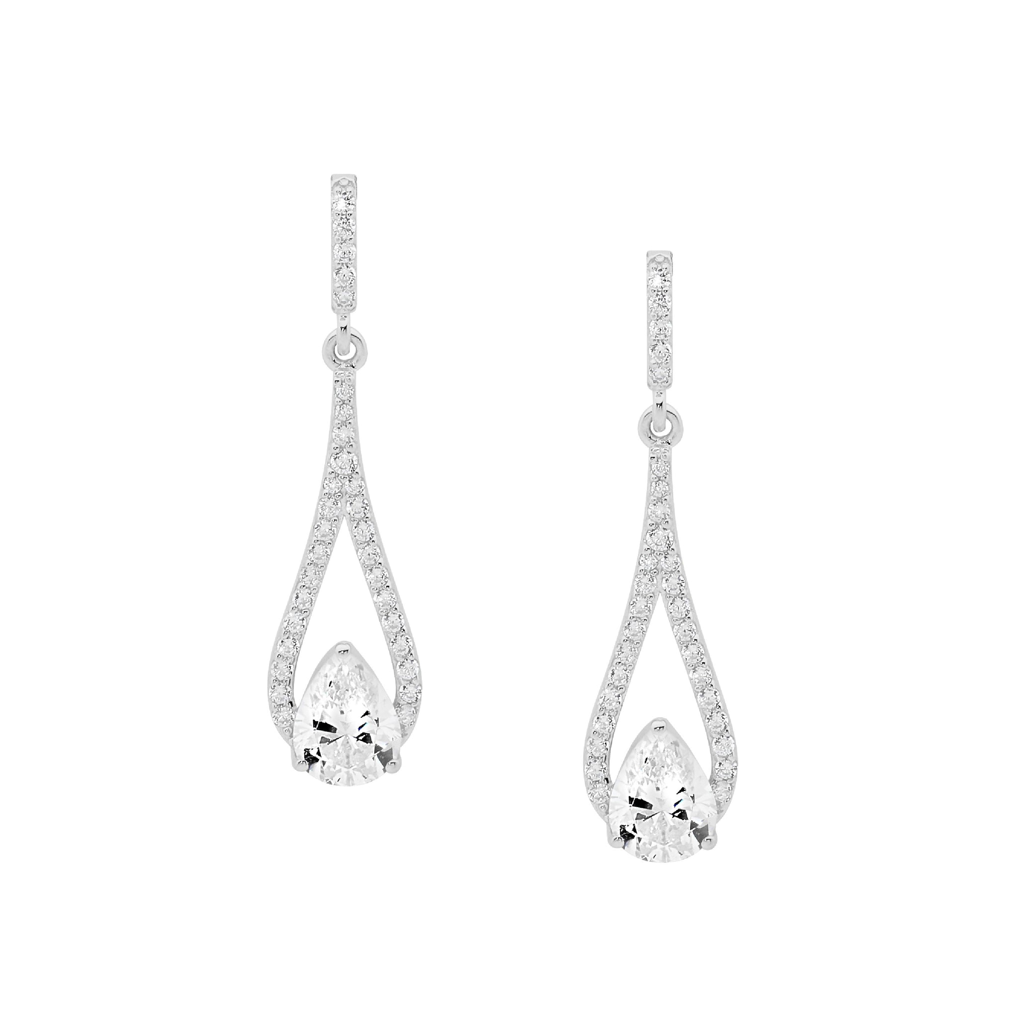 Open Teardrop With Teardrop Centre CZ  Earrings