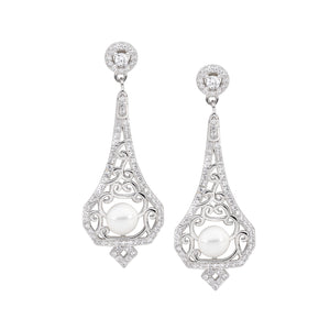 Fresh Water Pearl CZ Drop Filigree Earrings
