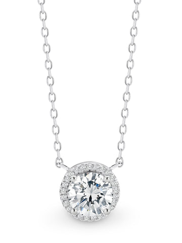 CZ Round Halo Necklace