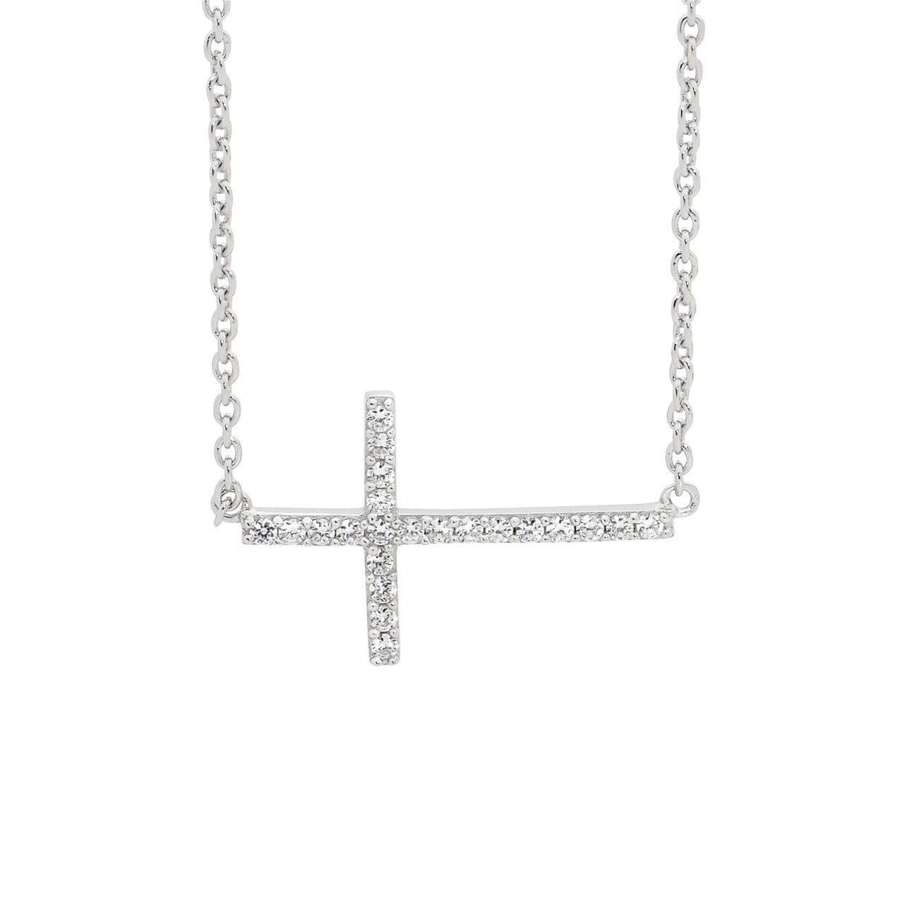 CZ Horizontial Cross Necklace