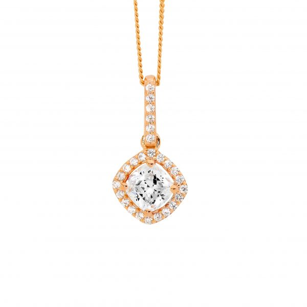 CZ Cushion Cut Halo Necklace