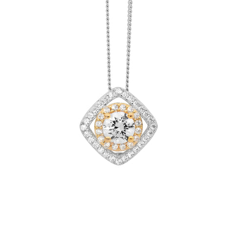 2Tone CZ Square Halo Necklace