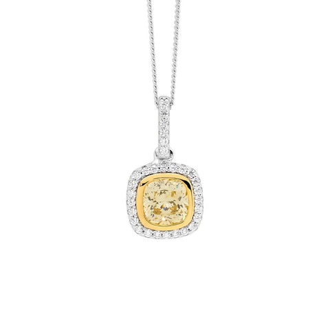 Yellow CZ Cushion Cut Pendant w/ Chain
