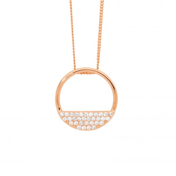 CZ Rows Circle Necklace