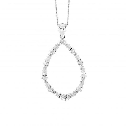 Open Pear Teardrop Necklace With CZ