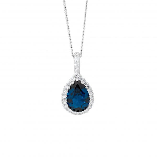 London Blue CZ Teardrop Necklace