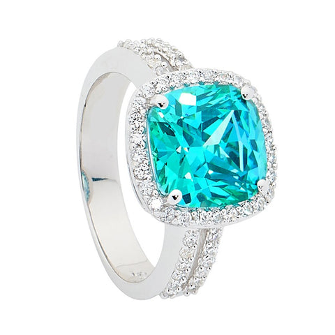 CZ Cushion Halo With Split Band Ring