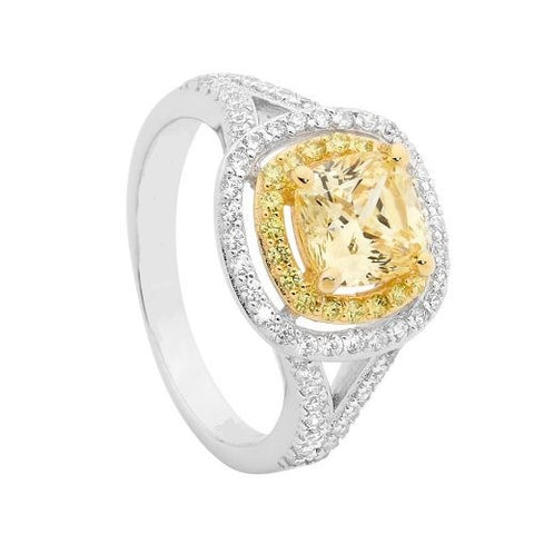 2Tone Yellow/White CZ Double Halo Ring