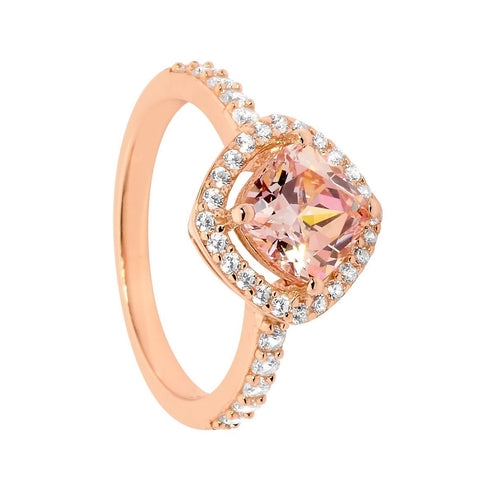CZ Morganite Cushion Cut Halo Ring