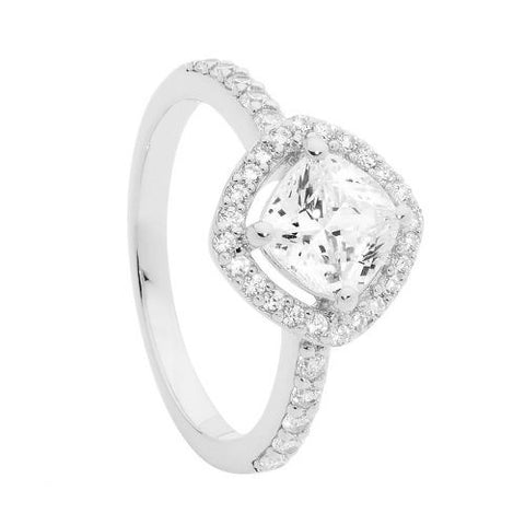 CZ Cushion Cut Halo Ring
