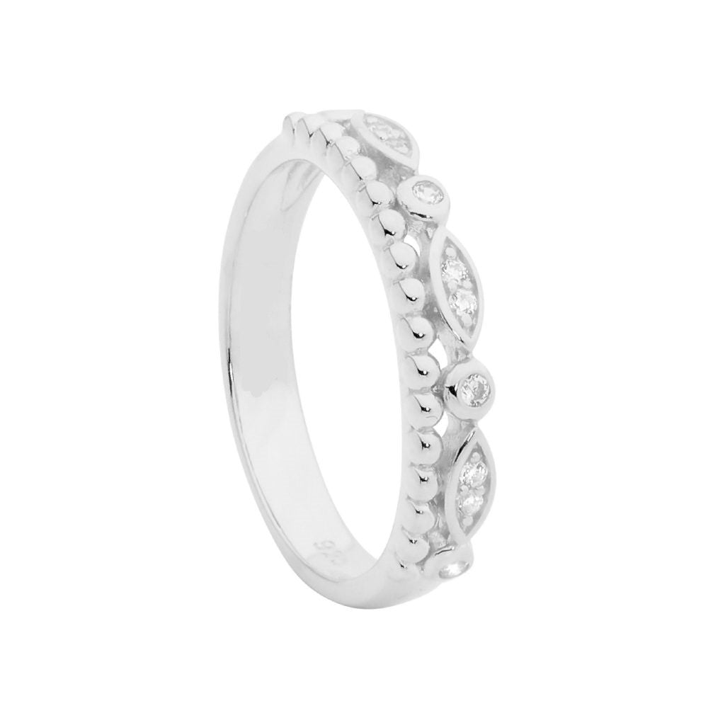 CZ & Bubble Ball Double Row Ring