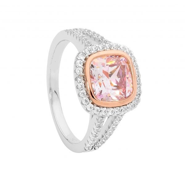 CZ Cushion Cut Morganite Ring