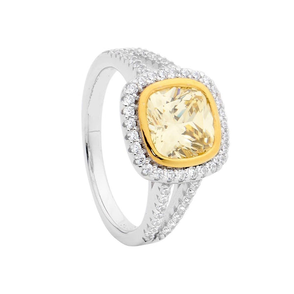 Yellow & White CZ Cushion Cut Ring