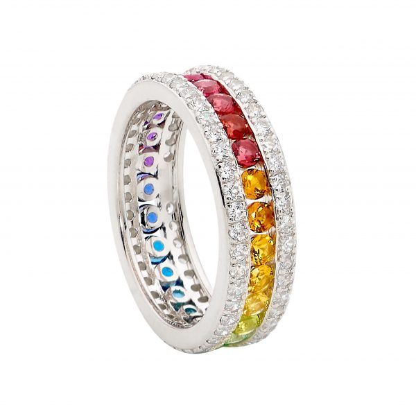 Multi Colour CZ Chanel Ring