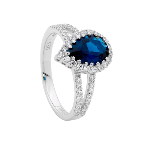 London Blue Teardrop CZ Ring