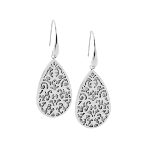 Shimmer Back Filigree Drop Earrings