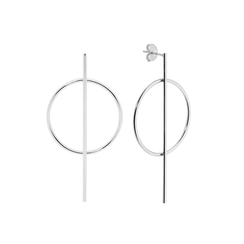 Long Bar With Open Circle Drop Earrings