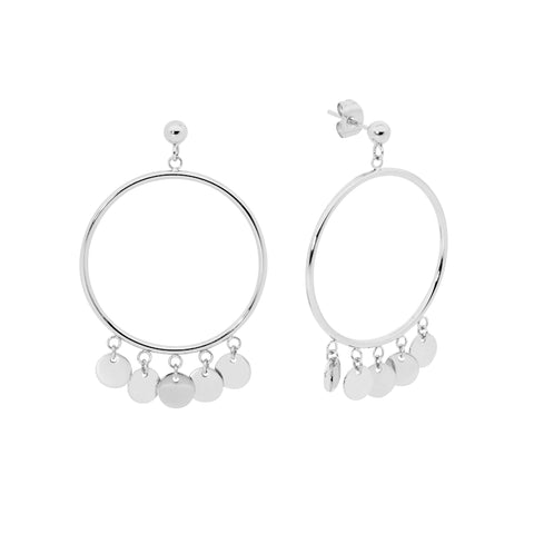 Open Circle Disc Drop Earrings