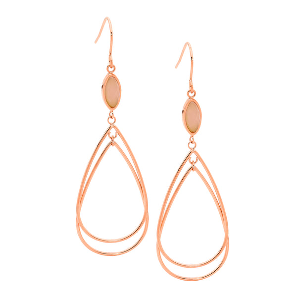 Teardrop Earrings With Pink Quartz