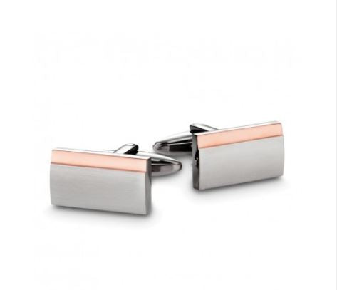 Stainless Steel and Rose Rectangular Cufflinks