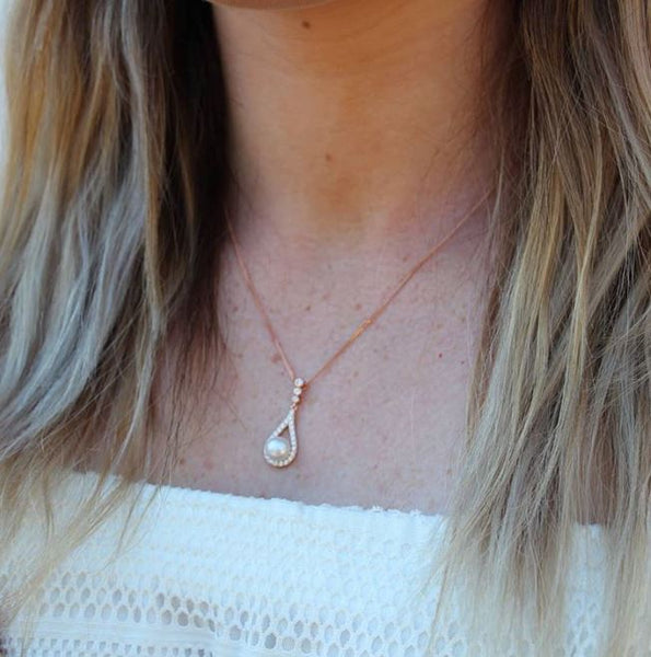 Fresh Water Pearl CZ Necklace