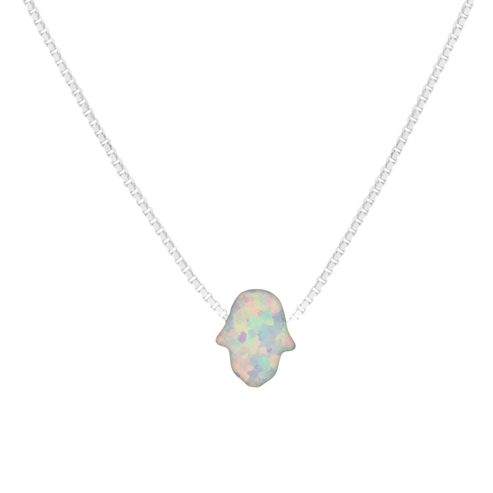 Opalite White Hand Of Fatima Necklace