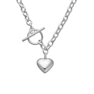 Fob Necklace With Puff Heart