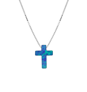 Opalite Blue Cross Necklace