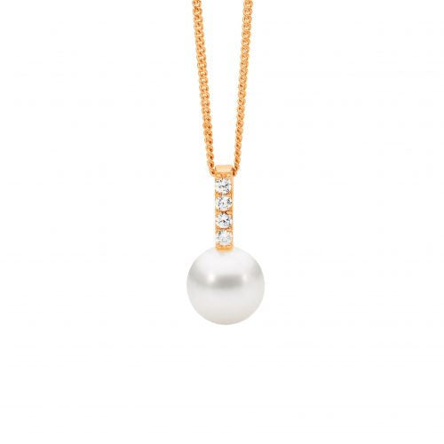 CZ Fresh Water Pearl Necklace