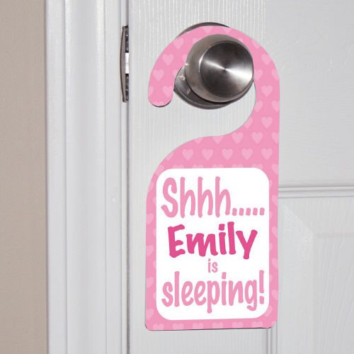 Personalized Baby's Sleeping Pink Door Hanger