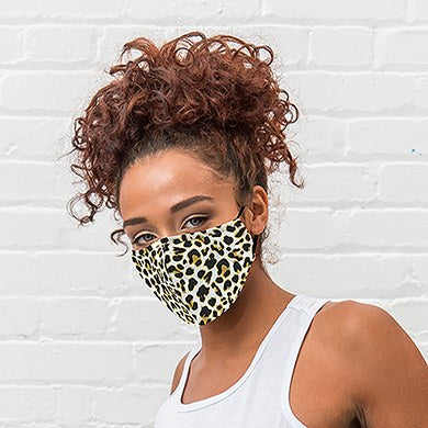 Adult Reusable, Washable Cloth Face Mask With Filter Pocket - Leopard Print